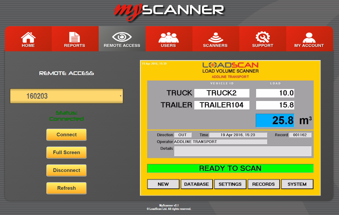 Loadscan MyScanner Remote access