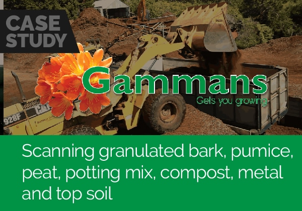 Scanning granulated bark, pumice, peat, compost, potting mix, metal and top soil