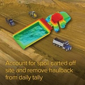 Account for spoil carted off site and remove haulback from daily tally