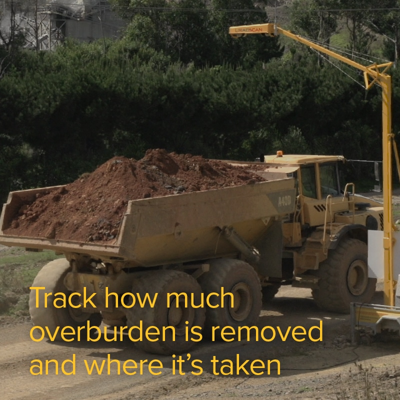 Track how much overburden is removed and where it's taken