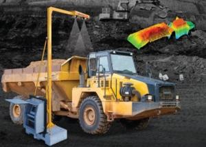 Dump truck under 3D scanner